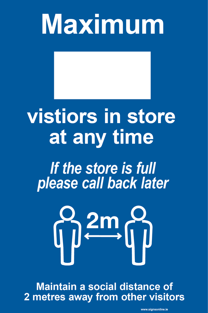 Number of Visitors In-Store sign for sales at www.signsonline.ie