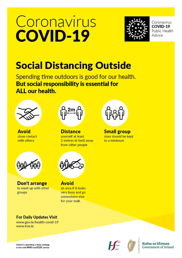 Covid19 Social Distancing Guielines for public spaces and outside.  Available to buy online at www.signsonline.ie