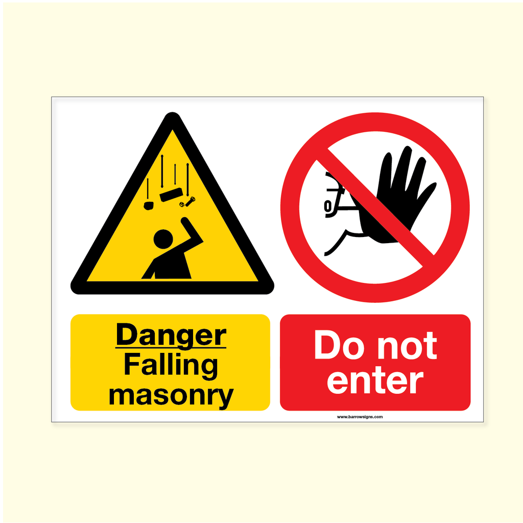 Danger Falling Masonry Sign for sale at www.barrowsigns.com