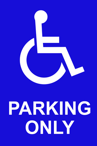 Disabled Parking Sign with pictogram of wheelchair. For sale at www.barrowsigns.com