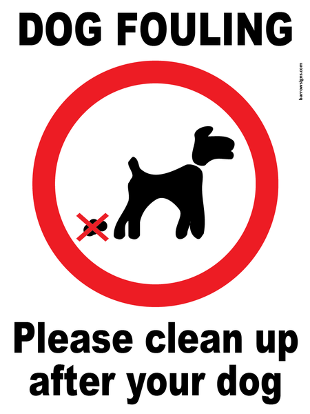 Dog Fouling sign a reminder for dog owners to clean up after their pet