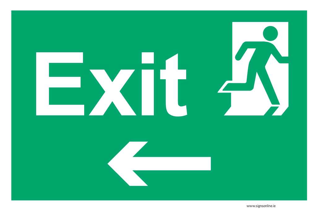 Exit LEFT sign available for sale on line at www.signsonline.ie