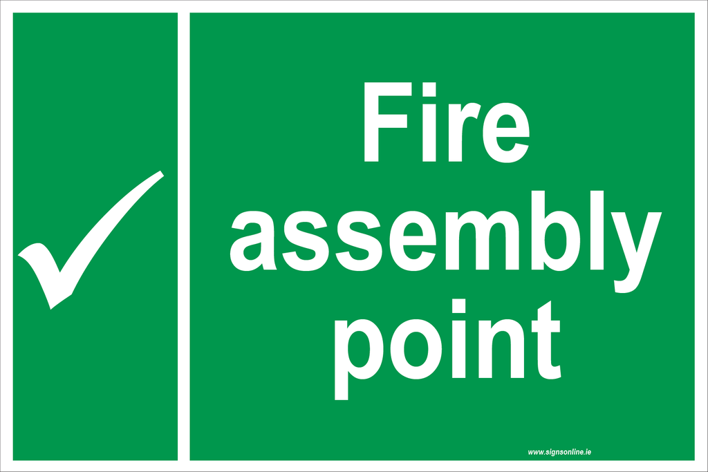 Fire Assembly Point sign in corriboard aluminiu  or self adhesive sticker, available from signs online at www.signsonline.ie