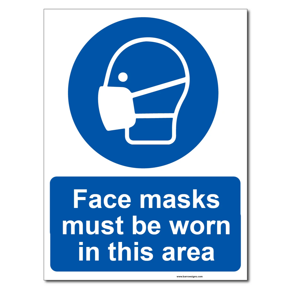 Face Masks must be worn in this area sign for sale at www.signsonline.ie