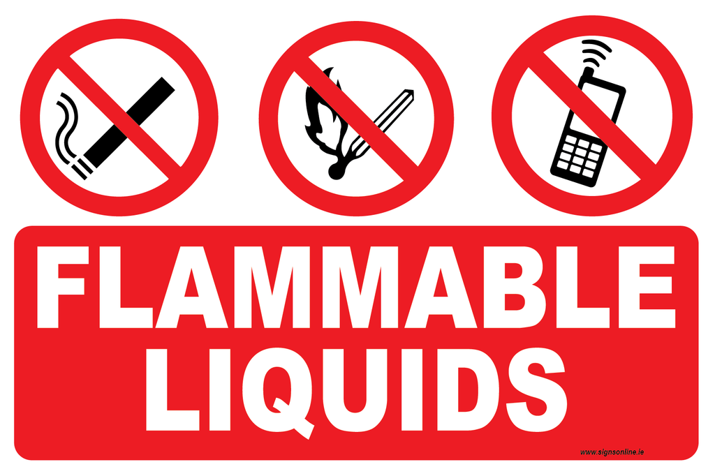 Fammable Liquids Sign available to buy onloine at ww.signsonline.ie