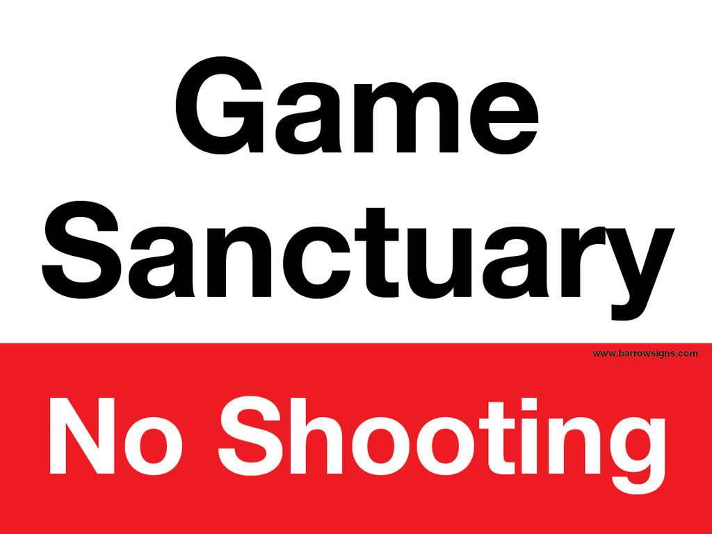 Game Sanctuary No Shooting Sign