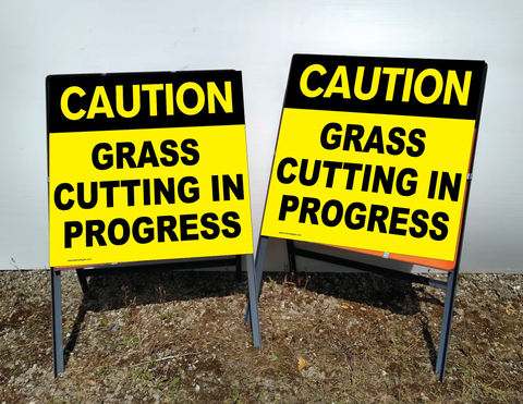 Caution GRASS CUTTING in Progress sign, with reflective panels. For sale at www.signsonline.ie