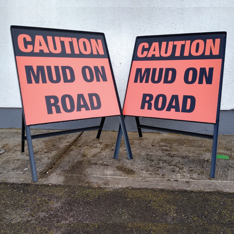Muck on road or Mud on Road warning sign available from www.signsonline.ie