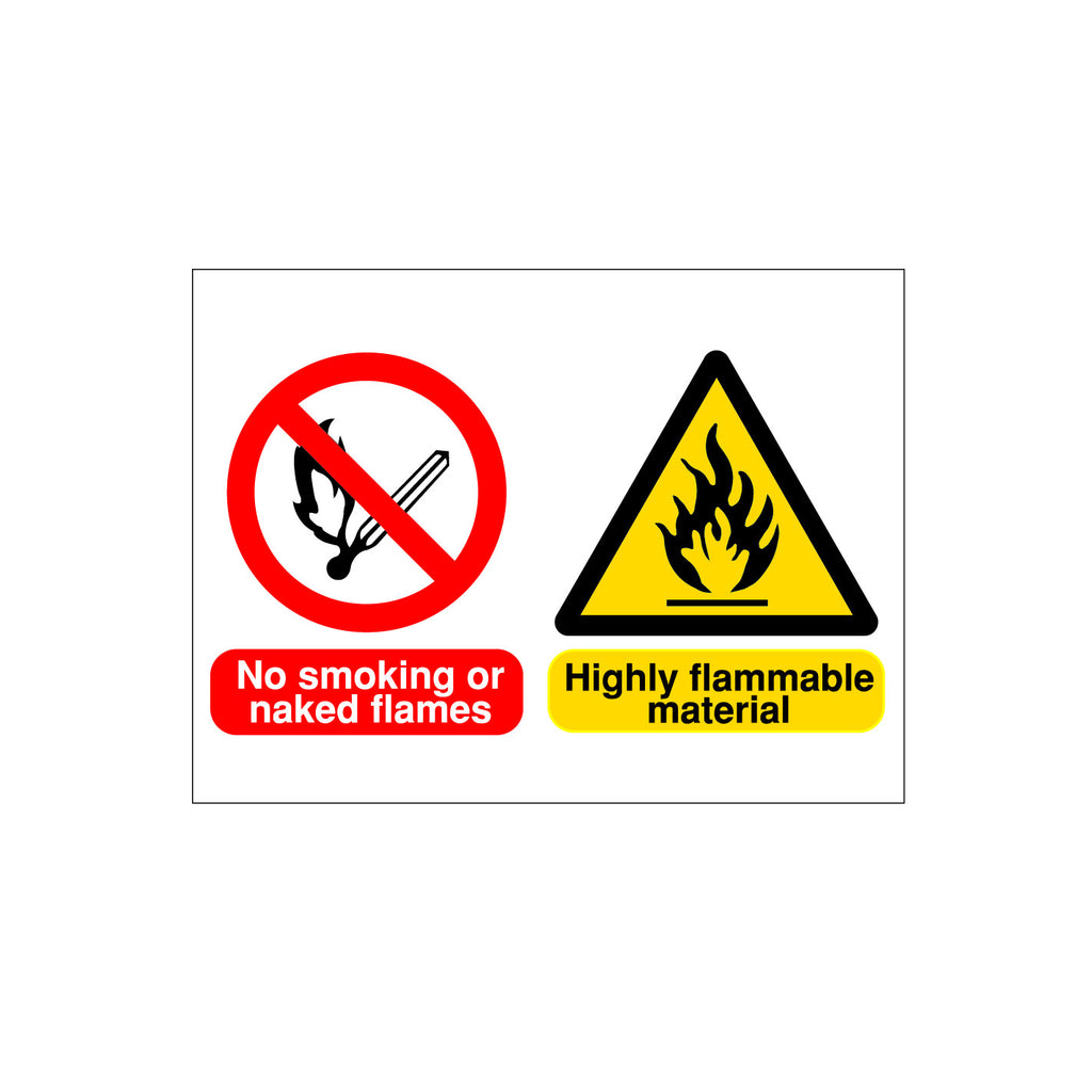 No Smoking Flammable Material warning sign for sale from www.barrowsigns.com