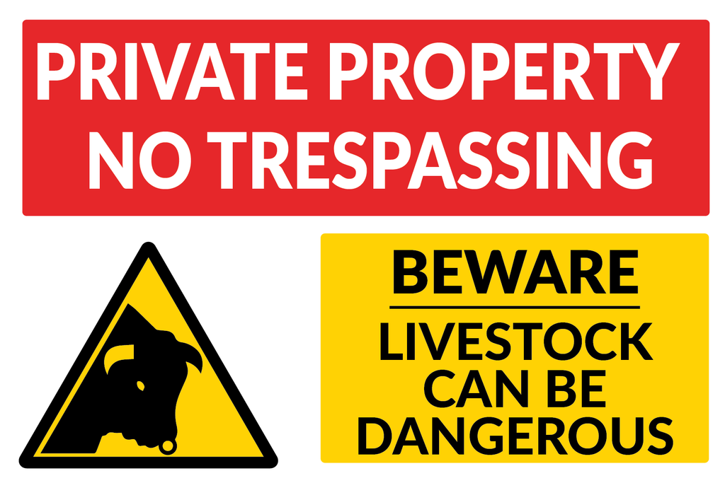 Private Property No Trespassing Livestock Can Be Dangerous sign in corriboard or aluminium available to buy with dree shipping from Signs Online www.signsonline.ie