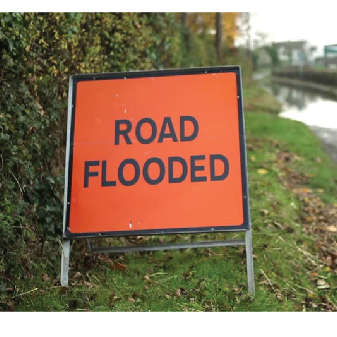 2 x Road Flooded Signs on Steel Frame