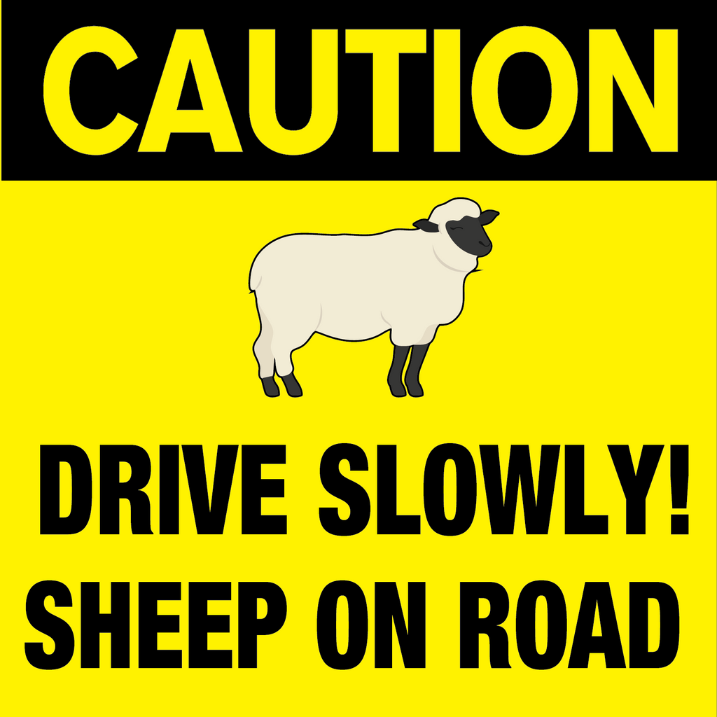 Caution Sheep On Road Sign