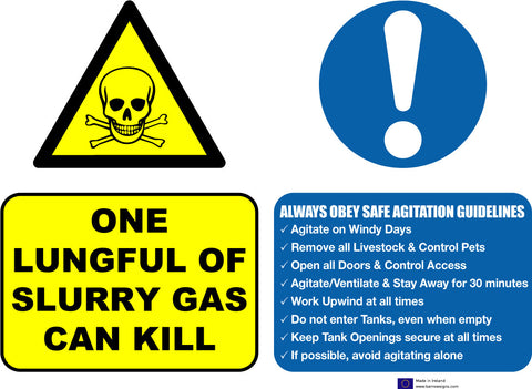 Slurry Gas Can Kill sign. This is mandatory for all farmers applying for grants for slatted units