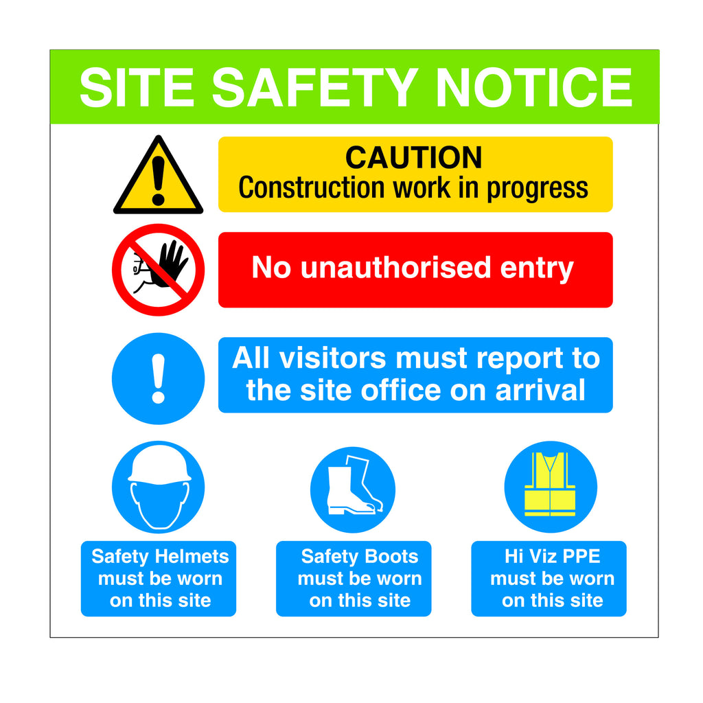 Construction Site Safety Sign with the key messages required