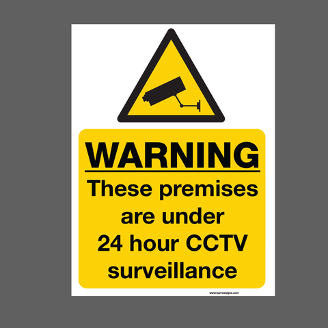Warning These Premises are under 24 hour CCTV surveillance sign for sale at www.barrowsigns.com. Available in corriboard or aluminum