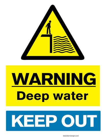 Warning deep water sign warning deep water keep out
