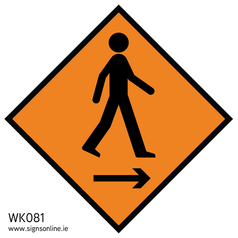 WK081 Pedestrians keep right roadworks sign available from www.signsonline.ie