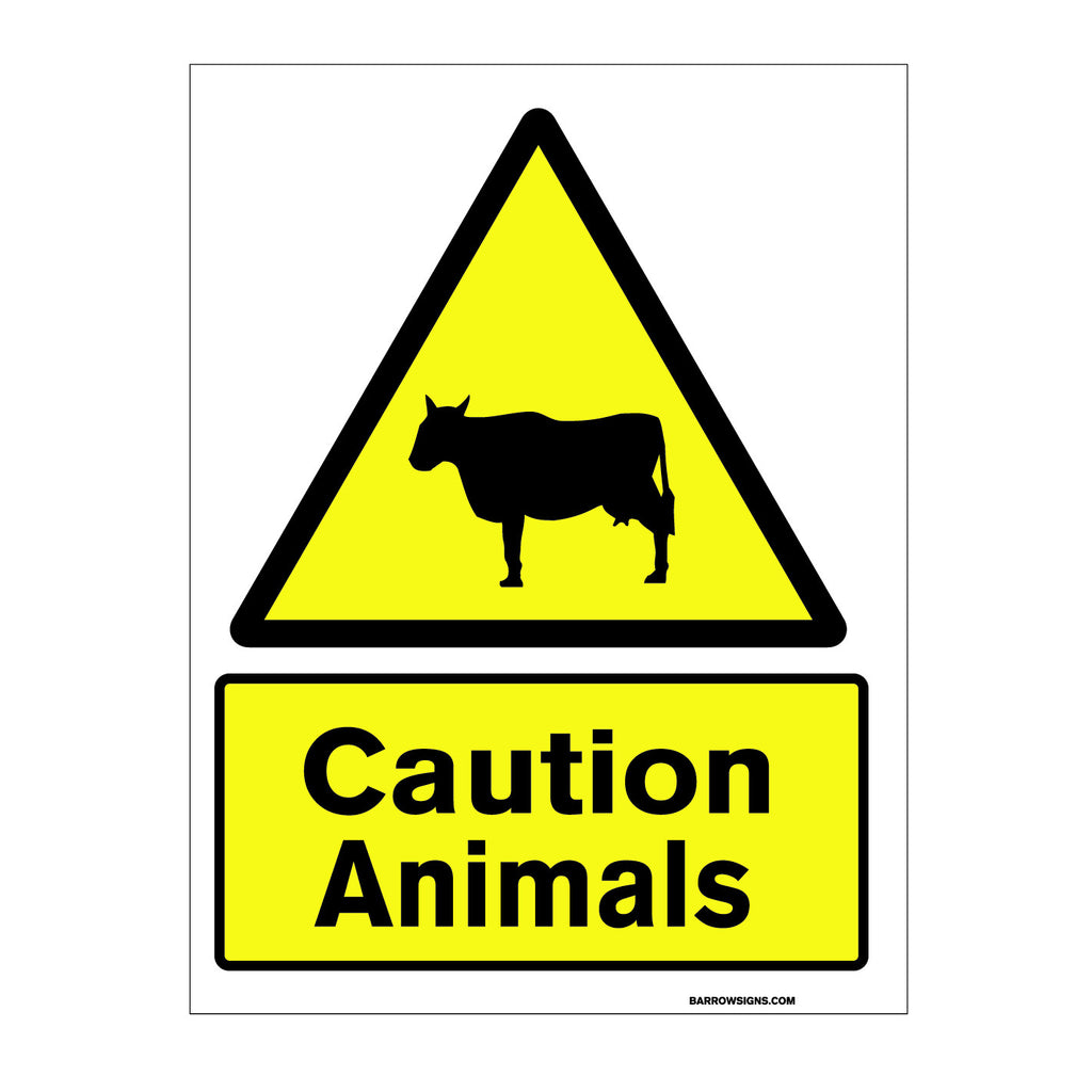 Caution Animals Crossing Sign