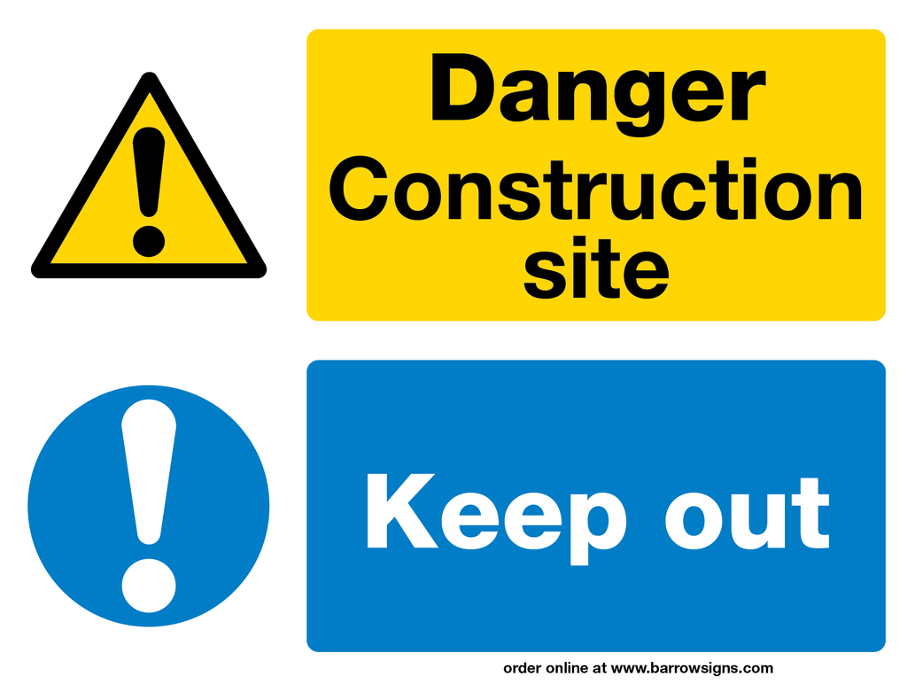 Danger Construction Site - Keep Out Sign 600 x 450 (Corriboard) PACK OF 5