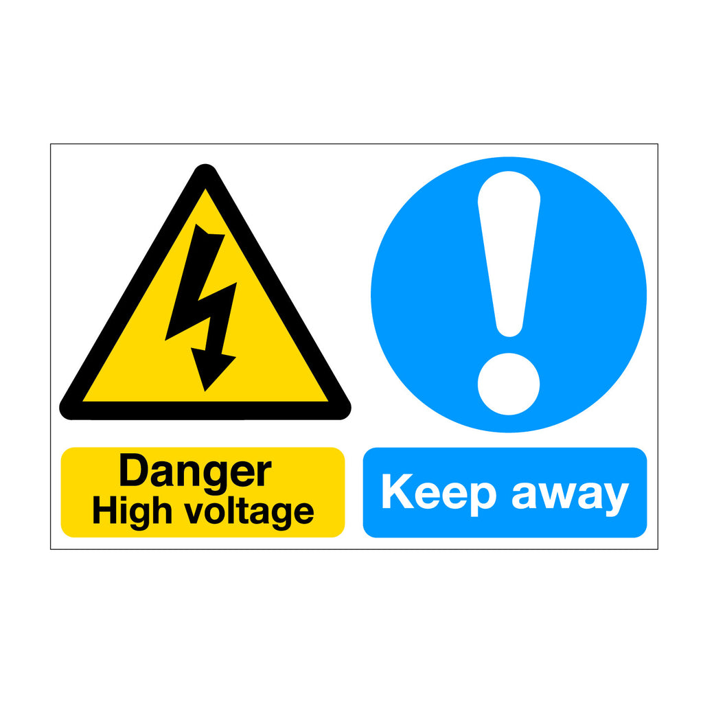 Danger High Voltage Keep Away Self Adhesive Sticker and Sign available online at www.signsonline.ie