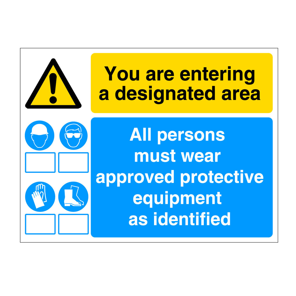 Designated Area for PPE Sign