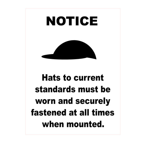Equine Sign Riding Hat Notice