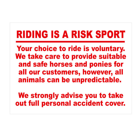 Equine Sign Riding is a risk sport Notice
