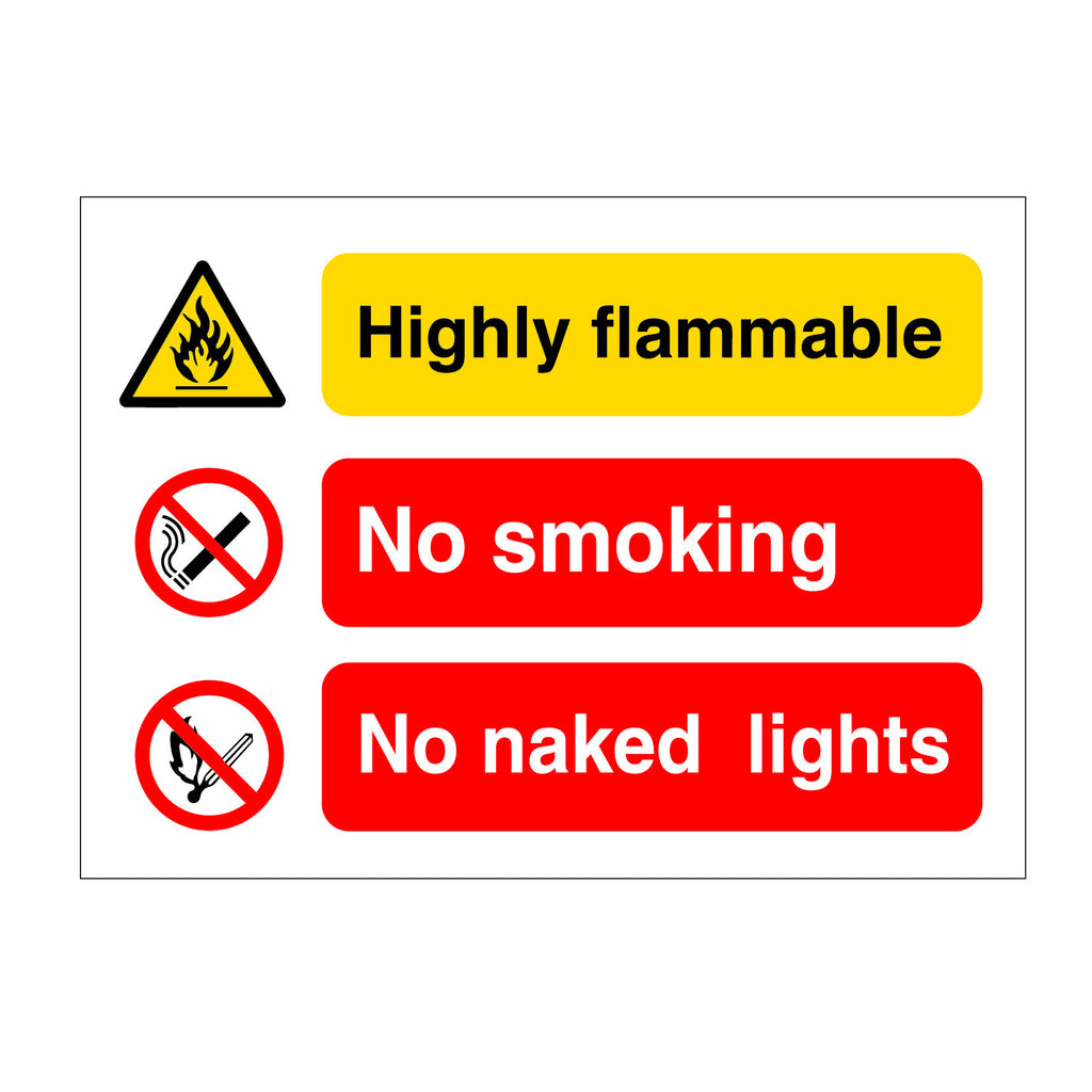 Highly Flammable - No Smoking - No Naked Lights Sign