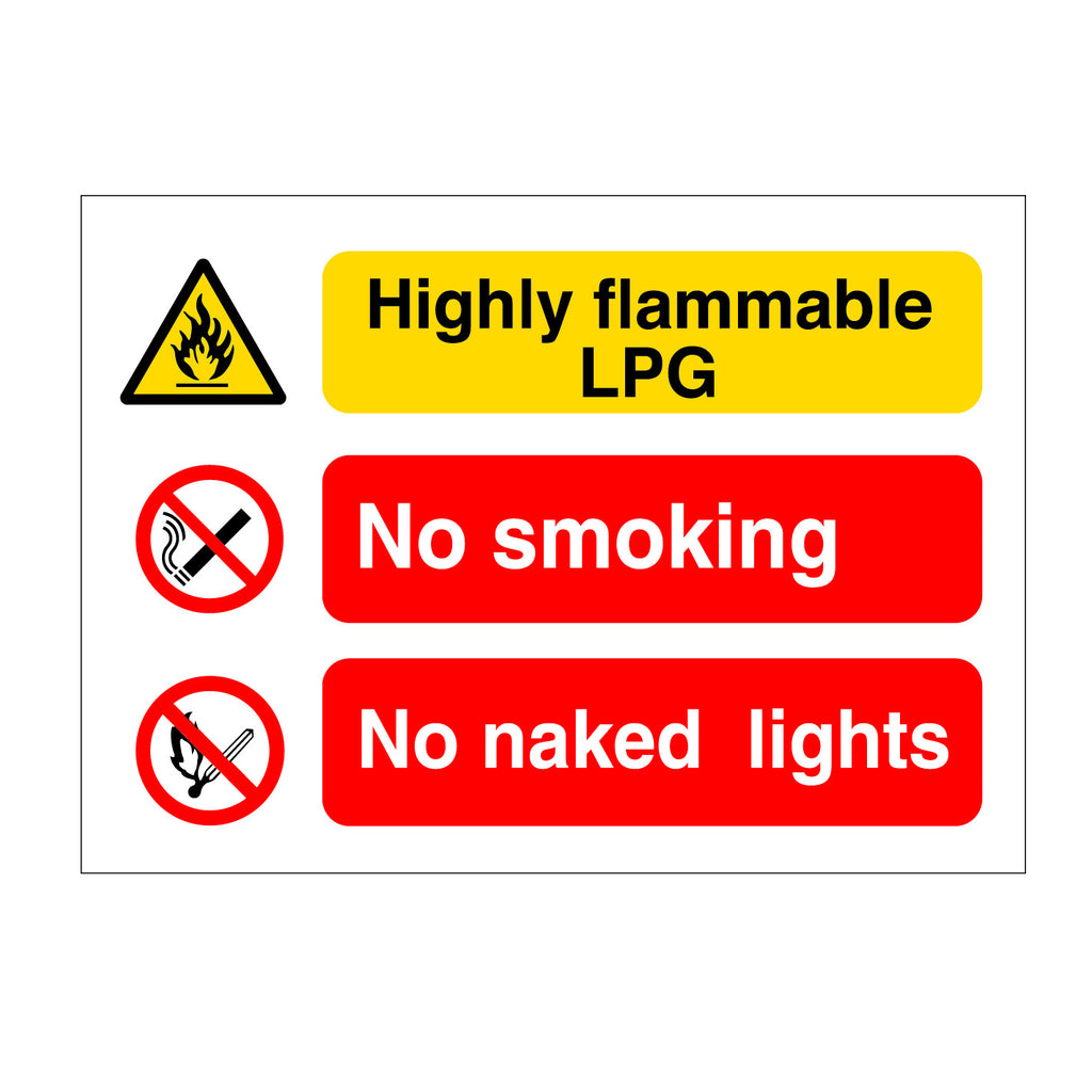 LPG No Smoking No Naked Lights Sign