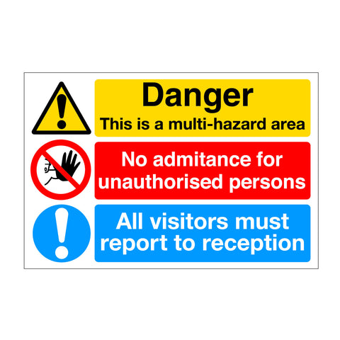 Danger Multi Hazzard Waring Sign