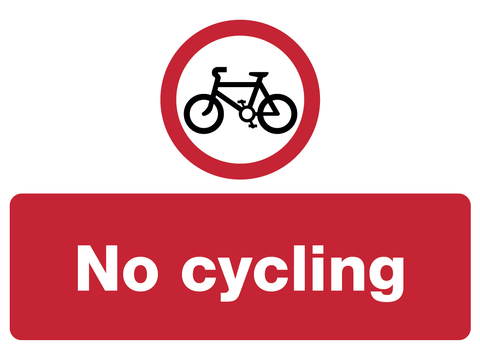 No Cycling Sign Made By www.barrowsigns.com