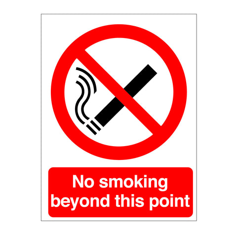 No Smoking Beyond This Point sign for sale from www.barrowsigns.com