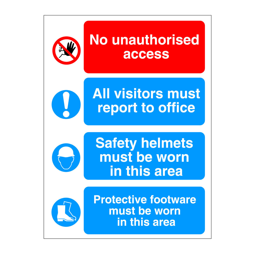 No Unauthorised Access, Visitors Report, Hat, Boots Sign