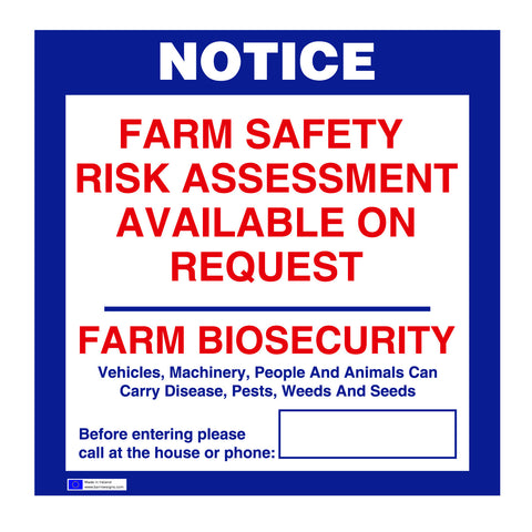Farm Risk Assesment and Biosecurity Sign