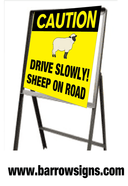 Caution Sheep On Road Sign on steel stand 610 x 610mm