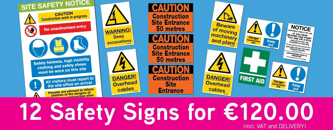 Innovative Sign Solutio12 safety signs for 120 for sale at signsonline.ie logons for marketing and exhibtions from www.signsonline.ie