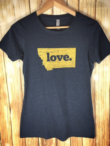 Montana Shirt Co. Montana State Bobcat Pride/Love Ladies Tee - The Northern Boutique in Billings MT