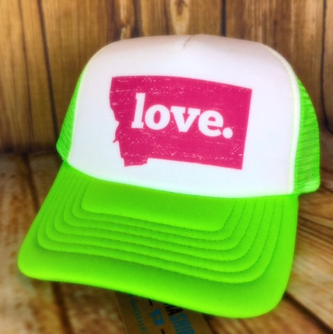 MSC Neon Green Love. Trucker Hat - The Northern Boutique in Billings MT