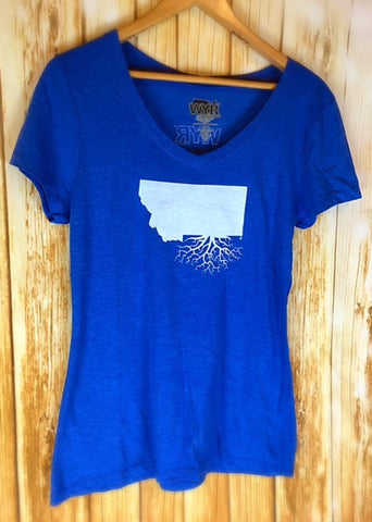 Montana Roots Ladies Premium V-Neck Tee in Cobalt Blue - The Northern Boutique in Billings MT