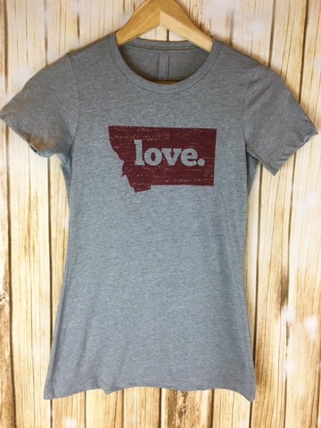 Montana Shirt Co. University of Montana Griz Pride/Love Ladies Shirt - The Northern Boutique in Billings MT