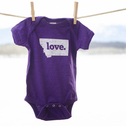 Montana Shirt Co Made In Montana Infant Love Purple Onesie The
