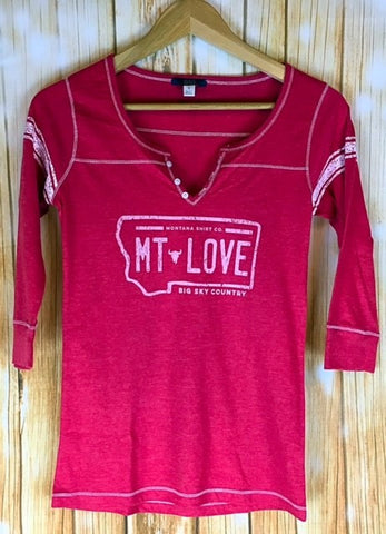Montana Shirt Co. MT LOVE License Plate Henley - The Northern Boutique in Billings MT