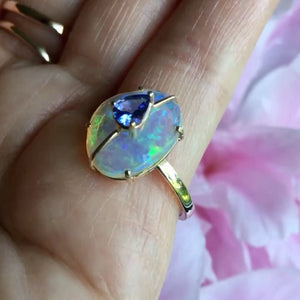 Moonstone & Tanzanite Gold Ring