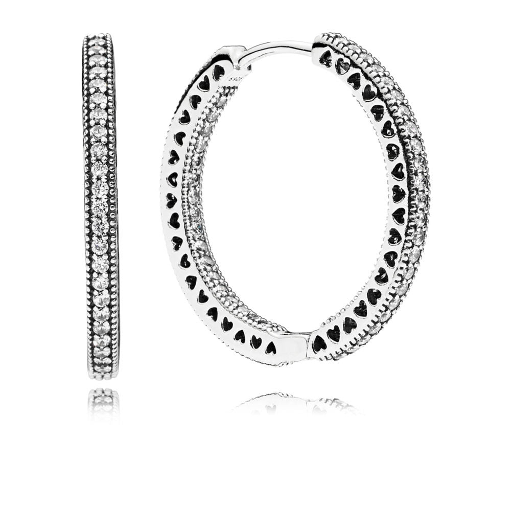 PANDORA Hearts of PANDORA Hoop Earrings, Clear CZ