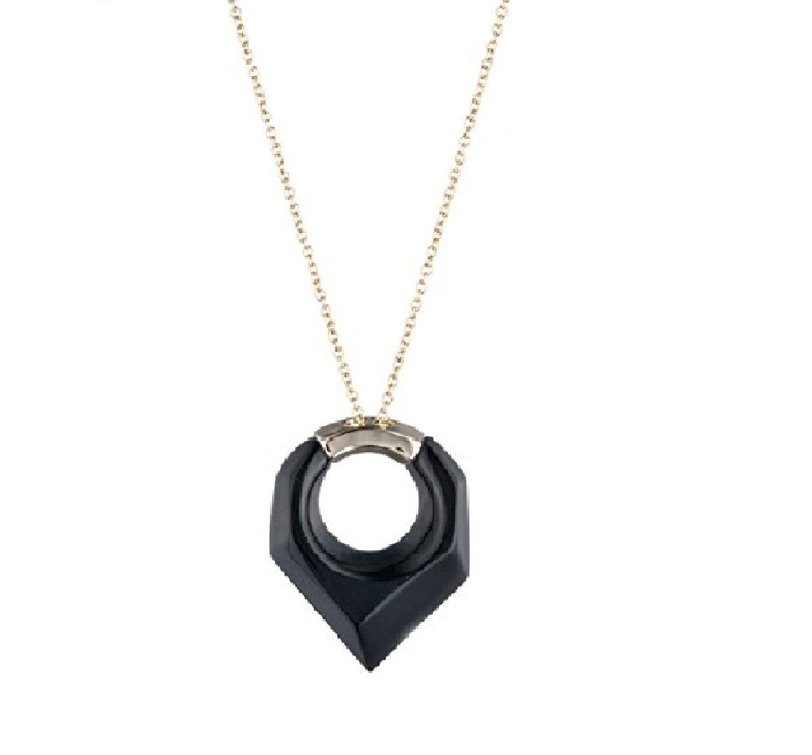 Faceted Pentagon Pendant Necklace