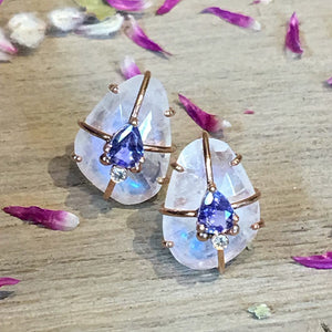 Moonstone Cage Post Earrings