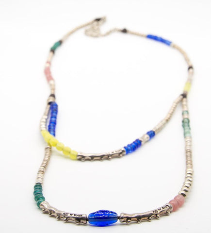 Beaded and Silver Plated Necklace