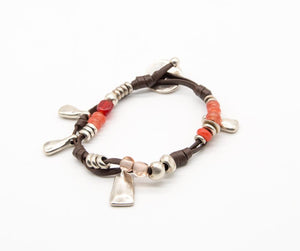 Silver Plated and Beaded Leather Bracelet