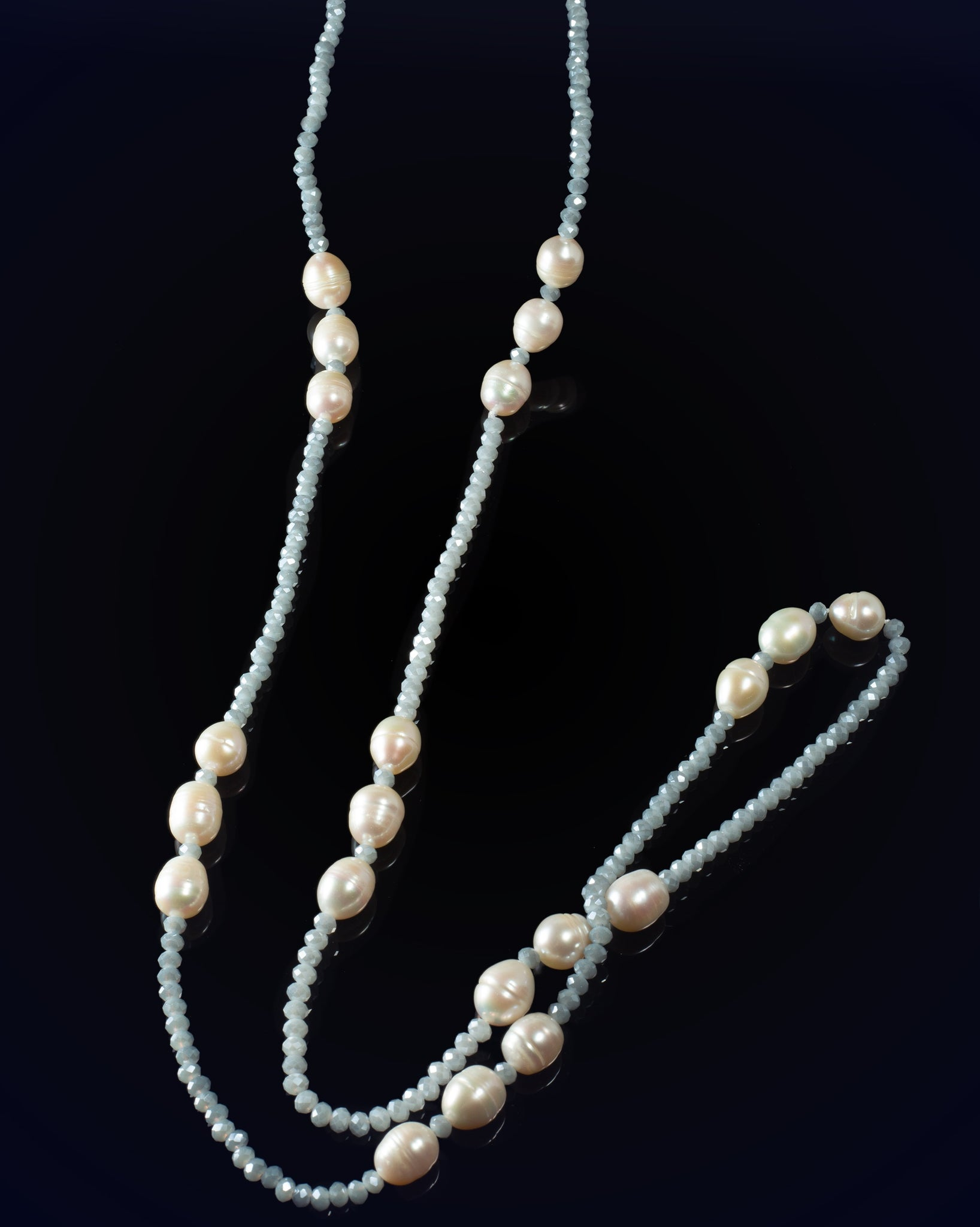 Long Blue Baroque Pearl Necklace