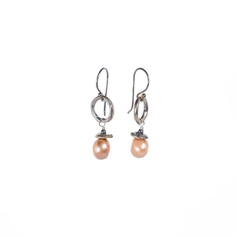 Infinite Circle Freshwater Pearl Earrings